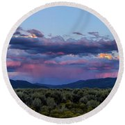 Eastern Sky At Sunset - Taos New Mexico Round Beach Towel