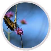 Eastern Tiger Swallowtail And Blue Sky Round Beach Towel