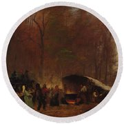 Eastman Johnson - A Different Sugaring Off - Circa 1865 Round Beach Towel