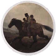 Eastman Johnson - A Ride For Liberty--the Fugitive Slaves 1862 Round Beach Towel