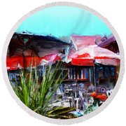 Eat At Joe's Round Beach Towel