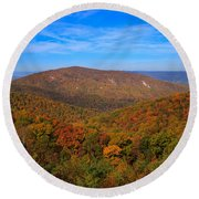 Eaton Hollow Overlook On Skyline Drive In Shenandoah National Park Round Beach Towel