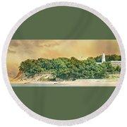 Eaton's Neck Lighthouse Circa 1798 Round Beach Towel