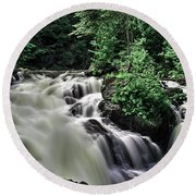 Eau Claire Gorge Water Fall Round Beach Towel