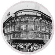 Ebbets Field, Brooklyn, Nyc Round Beach Towel by Photo Researchers