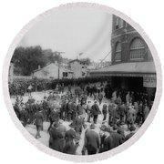 Ebbets Field Crowd 1920 Round Beach Towel