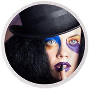 Eccentric Mad Fashion Hatter In Colourful Makeup Round Beach Towel
