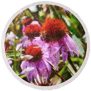 Echinacea Watercolor 2015 Round Beach Towel