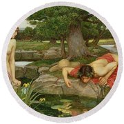 Echo And Narcissus Round Beach Towel