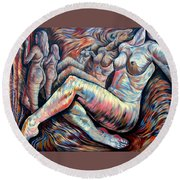 Echo Of A Nude Gesture II Round Beach Towel