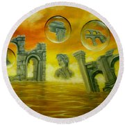 Echoes Of The Past Round Beach Towel