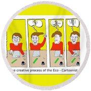 Eco Cartoonist Round Beach Towel