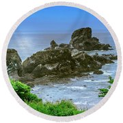 Ecola State Park Oregon 2 Round Beach Towel by Shiela Kowing