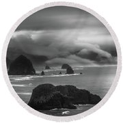 Ecola State Park Oregon Round Beach Towel