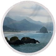 Ecola State Park View Of Haystack Rock And 3 Arch Rocks Round Beach Towel