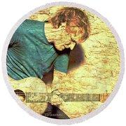 Ed Sheeran And Guitar Round Beach Towel