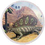 Edaphosaurus Dinosaur - 3d Render Round Beach Towel