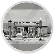 Edcouch Texas Gas Station 1939 Round Beach Towel