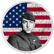 Eddie Rickenbacker And The American Flag Round Beach Towel by War Is Hell Store