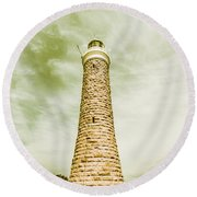 Eddystone Point Lighthouse Round Beach Towel
