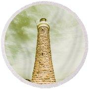 Eddystone Point Lighthouse Round Beach Towel