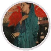 Edgar Degas - Young Woman With Ibis - 1860-1862 Round Beach Towel