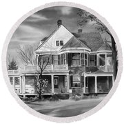 Edgar Home Bw Round Beach Towel by Kip DeVore
