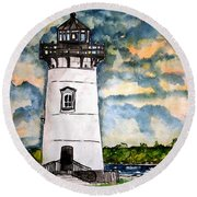 Edgartown Lighthouse Martha's Vineyard Mass Round Beach Towel