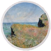 Edge Of The Cliff Pourville Round Beach Towel by Claude Monet