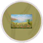 Edge Of The Cliffs By The Sea Round Beach Towel