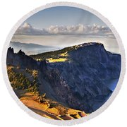 Edge Of The Crater Round Beach Towel