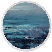 Edge Of The Deep Blue Sea Round Beach Towel