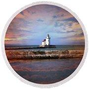 Edgewater Lighthouse Sunset Round Beach Towel