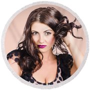 Edgy Hair Fashion Model With Brunette Hairstyle Round Beach Towel