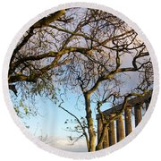 Edinburgh - Caption Hill Trees Round Beach Towel