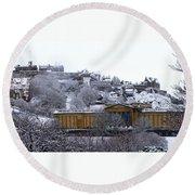 Edinburgh Castle And National Galleries Of Scotland In Winter Round Beach Towel