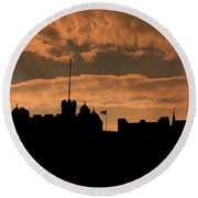 Edinburgh Castle Silhouette  Round Beach Towel