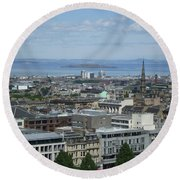 Edinburgh Castle View #5 Round Beach Towel