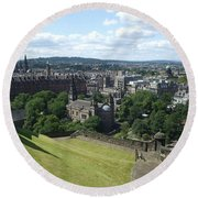 Edinburgh Castle View #6 Round Beach Towel