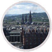 Edinburgh Castle View #8 Round Beach Towel