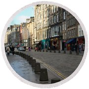 Edinburgh Royal Mile Street Round Beach Towel