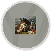 Edith Finding The Body Of Harold Horace Vernet Round Beach Towel