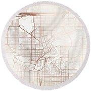 Edmonton Street Map Colorful Copper Modern Minimalist Round Beach Towel
