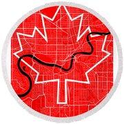 Edmonton Street Map - Edmonton Canada Road Map Art On Canada Flag Symbols Round Beach Towel