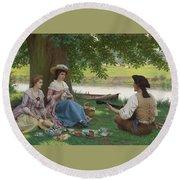Edmund Blair Leighton 1852-1922 A Picnic Party Round Beach Towel