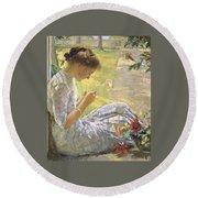 Edmund Charles Tarbell - Mercie Cutting Flowers 1912 Round Beach Towel