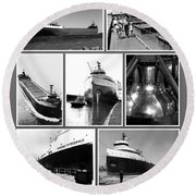 Edmund Fitzgerald Black And White Round Beach Towel