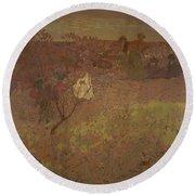 Edouard Vuillard - Walking In The Vineyard Round Beach Towel