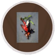 Eduard Quitton  Still Life With Green Ribbon, Fly, And Four American Birds Round Beach Towel