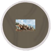 Eduardo Matania - Fishing Family In The Bay Of Naples 1872 Round Beach Towel